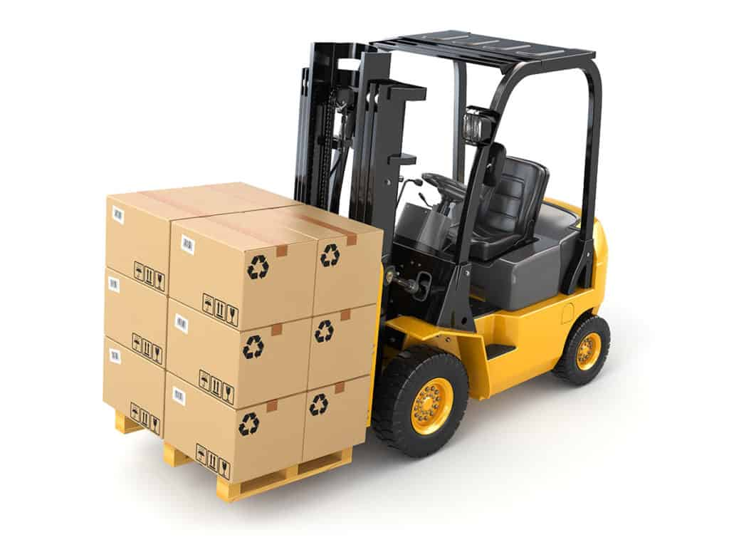 Forklift with boxes stacked on pallet on forks